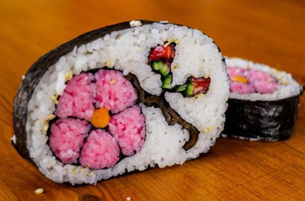 Gerissene blumen rosa Sushi Arten böse ideen