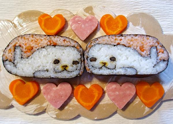 Gerissene karotten Sushi Arten herz seehund