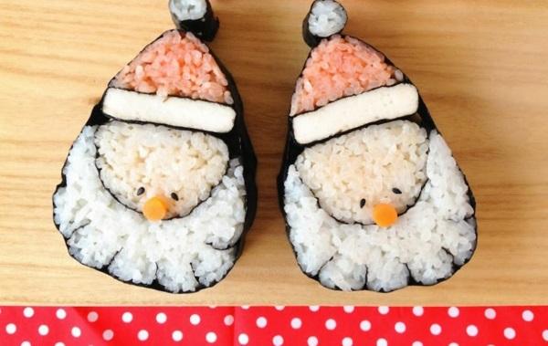 Gerissene weihnachtsmützen Sushi selbst machen Arten weihnachtsmann