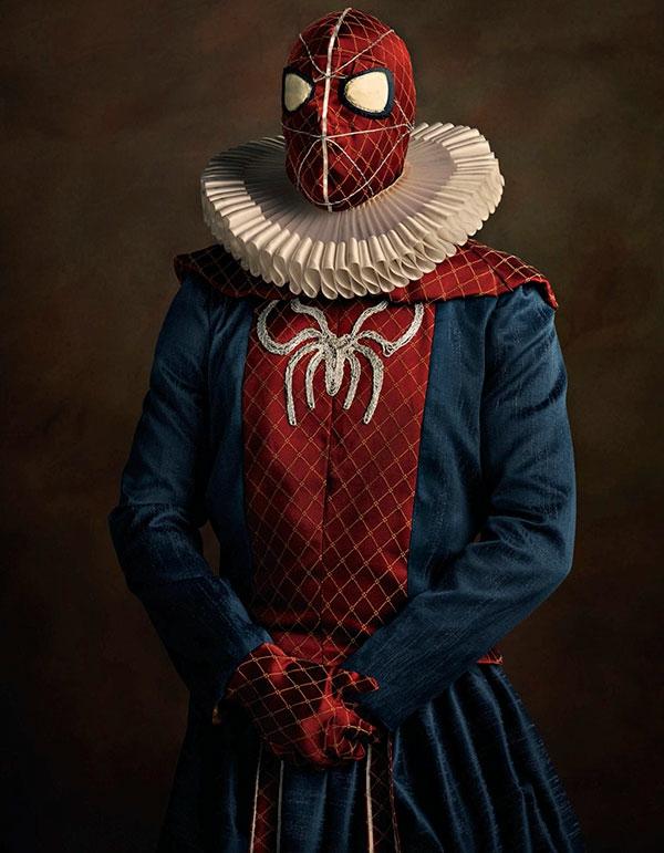 Helden Bösewichte als flämische Porträtgemälde spiderman