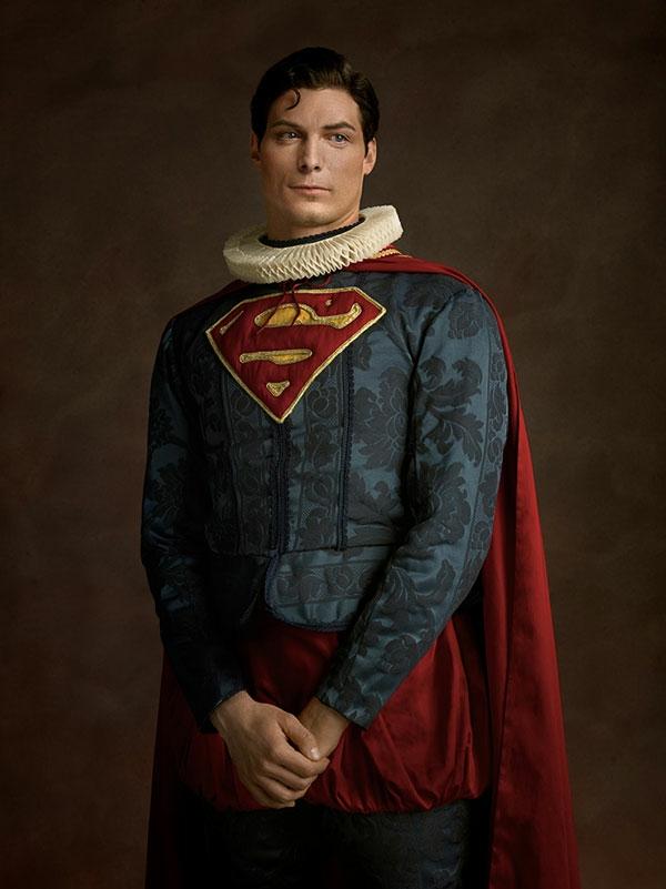 Helden Bösewichte als flämische Porträtgemälde superman