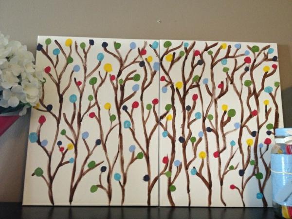 Leinwandbilder selber gestalten diy bäume