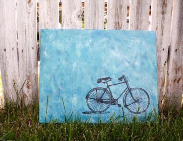 Leinwandbilder selber gestalten diy fahrrad