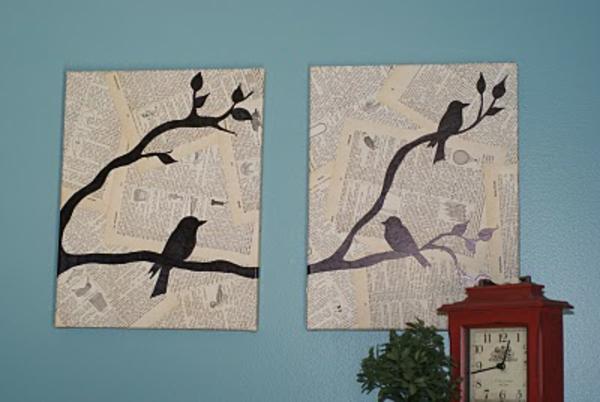 Leinwandbilder selber gestalten diy vogel zeitung