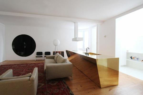 Moderne Küchen freistehend golden Kochinsel küchenblock