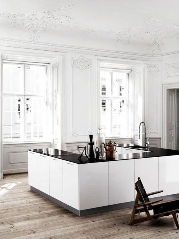 Moderne Küchen mit Kochinsel küchenblock freistehend weiß
