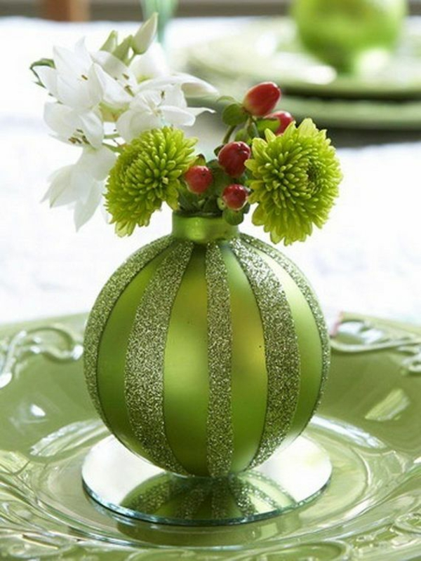 Neue Weihnachten gestecke selber machen grün glanz