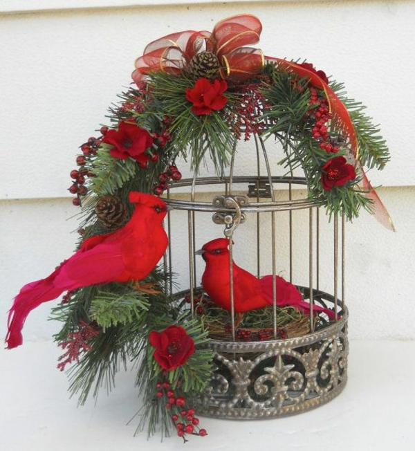 Weihnachtsgestecke selber machen käfig