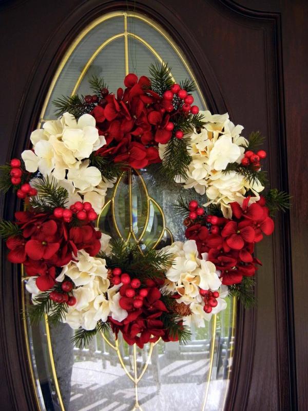 Neue Weihnachten gestecke selber machen weiß rot