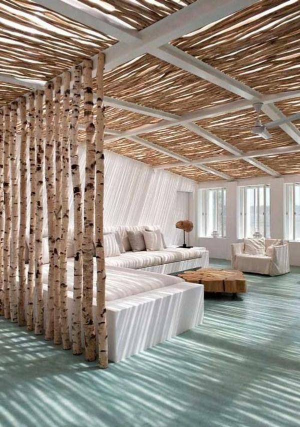 Raumteiler Ideen aus Holz design raumteiler baum stämme