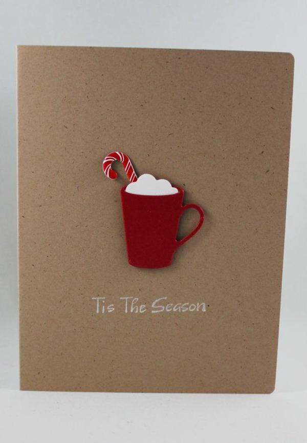 Schöne Weihnachtskarten selber basteln teetasse