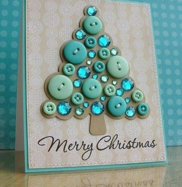 Schöne Weihnachtskarten blau grün selber basteln