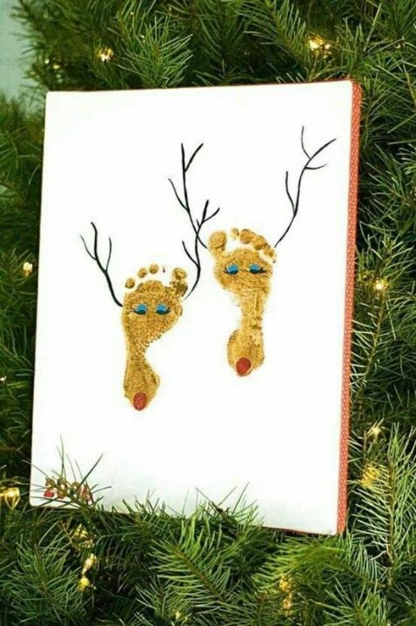 selber basteln Weihnachtskarten füsse hirsche