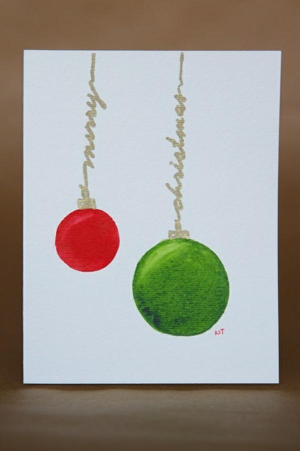 Weihnachtskarten selber basteln grün rot kugel