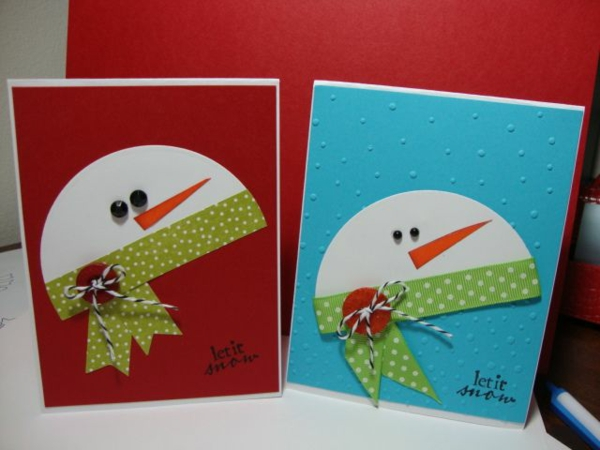 Schöne Weihnachtskarten selber basteln kind