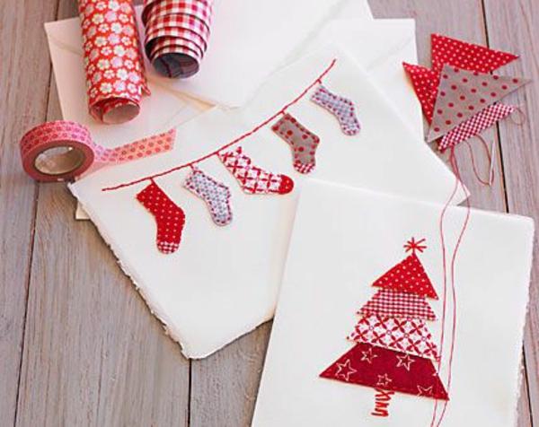 Schöne Weihnachtskarten selber basteln rot socken tannenbaum