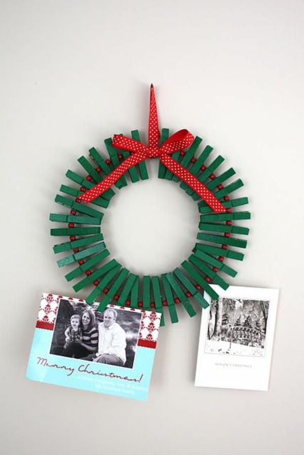 Schöne Weihnachtskarten selber basteln türkranz