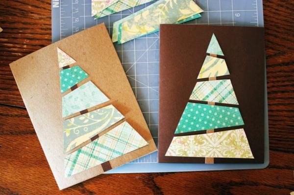 selber basteln tannenbaum schöne Weihnachtskarten