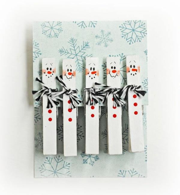 Schöne Weihnachtskarten selber basteln wäscheklammer