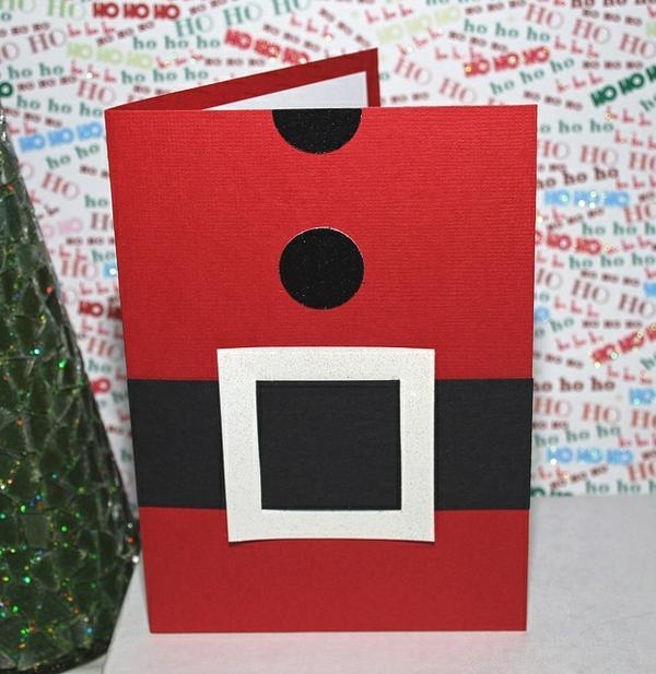 selber basteln weihnachtsmann Weihnachtskarten gürtel