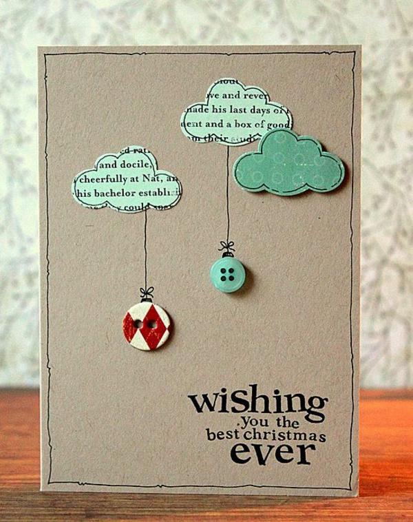 Schöne Weihnachtskarten selber basteln wolken ideen
