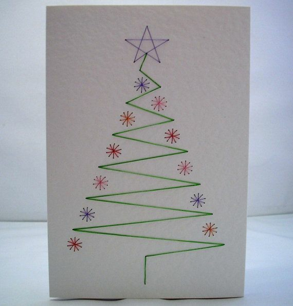 Schöne Weihnachtskarten selber basteln zeichnen
