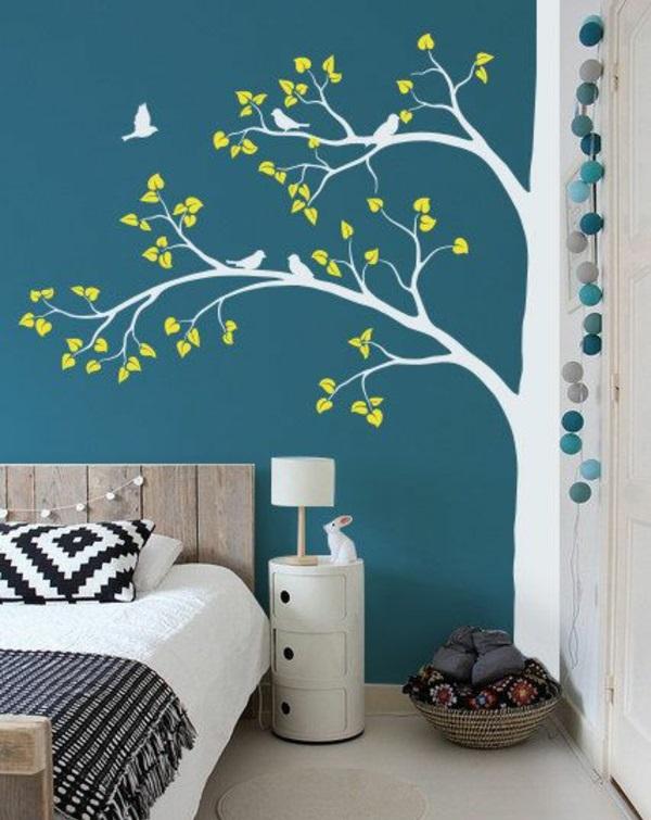 Tolle Wandgestaltung Farbe wände gestalten baum weiß