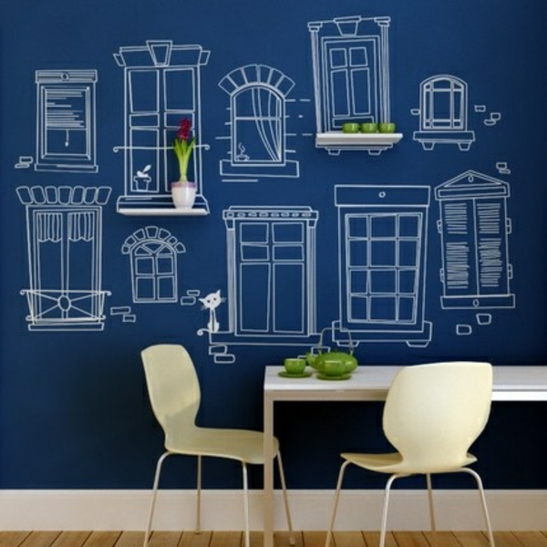 Wandgestaltung mit Farbe toll wände gestalten blau hintergrund