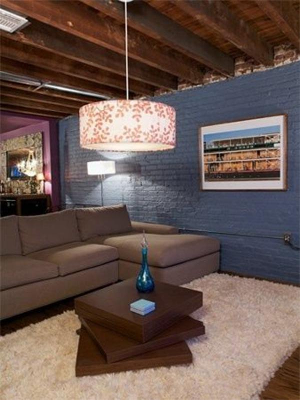 Tolle Wandgestaltung Farbe wände gestalten blau ziegel