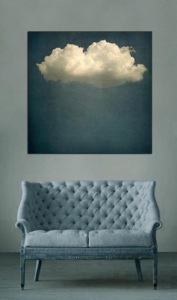 Wandgestaltung wände gestalten couch wolke gemälde