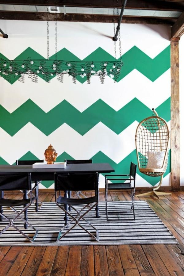Wand farbe wände gestalten grün chevron