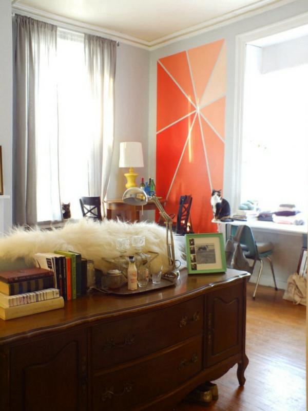 orange Wandgestaltung mit Farbe wände gestalten tischlampe orange akzent