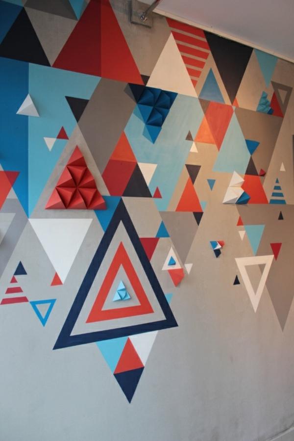 Download Wandgestaltung mit Farbe wand streichen ideen geometrische