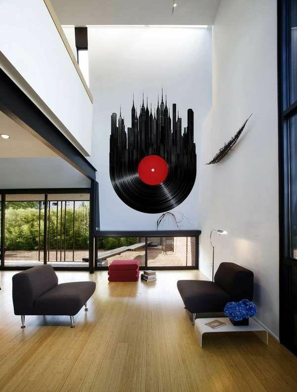 Tolle Wandgestaltung mit Farbe wand streichen ideen musikalisch