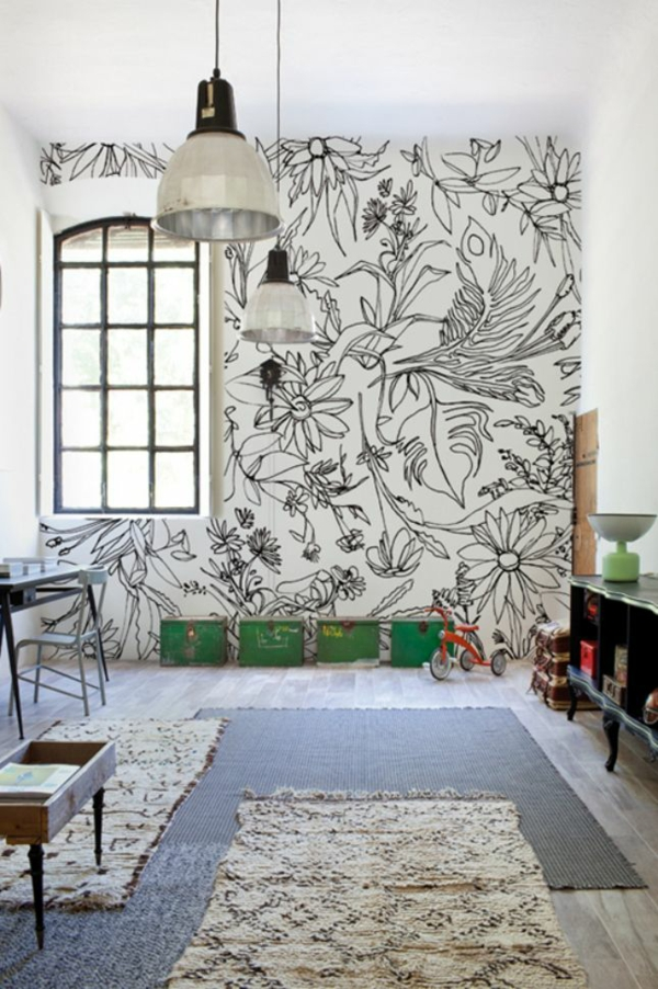 Tolle Wandgestaltung mit Farbe wand streichen ideen schwarz weiß