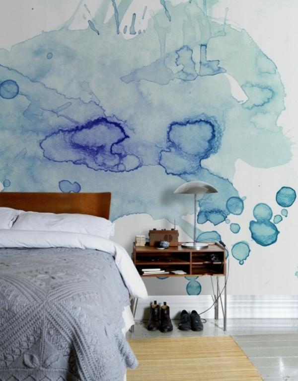 Tolle Wandgestaltung mit Farbe wandfarben ideen abstrakt