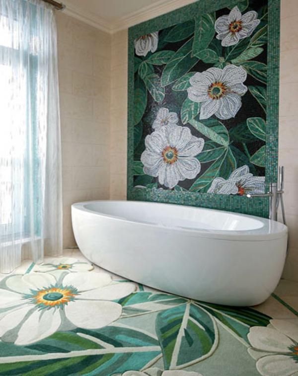 Farbe wandfarben ideen blumen badewanne