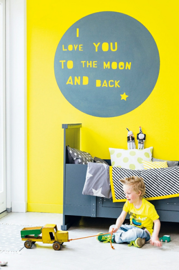 Wandgestaltung mit Farbe wandfarben ideen gelb grell
