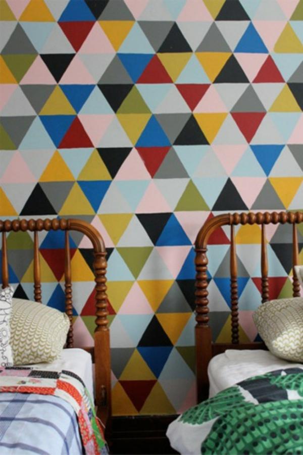 Tolle Wandgestaltung mit Farbe wandfarben ideen geometrisch