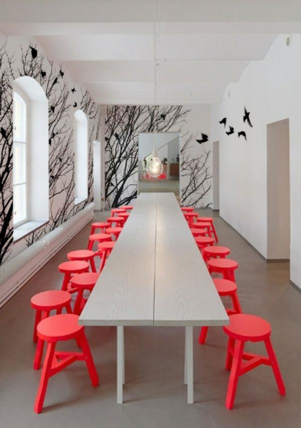Tolle Wandgestaltung wandfarben ideen hocker rot