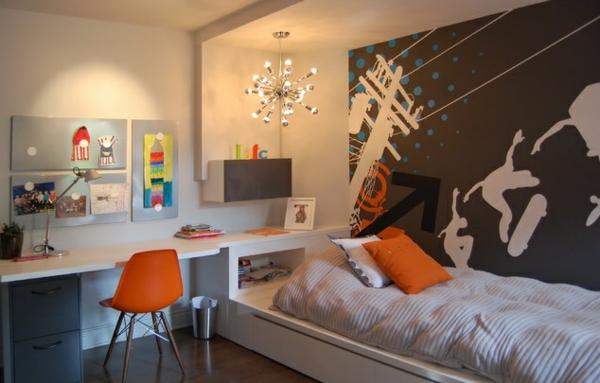 Wandgestaltung Farbe wandfarben ideen jugendzimmer