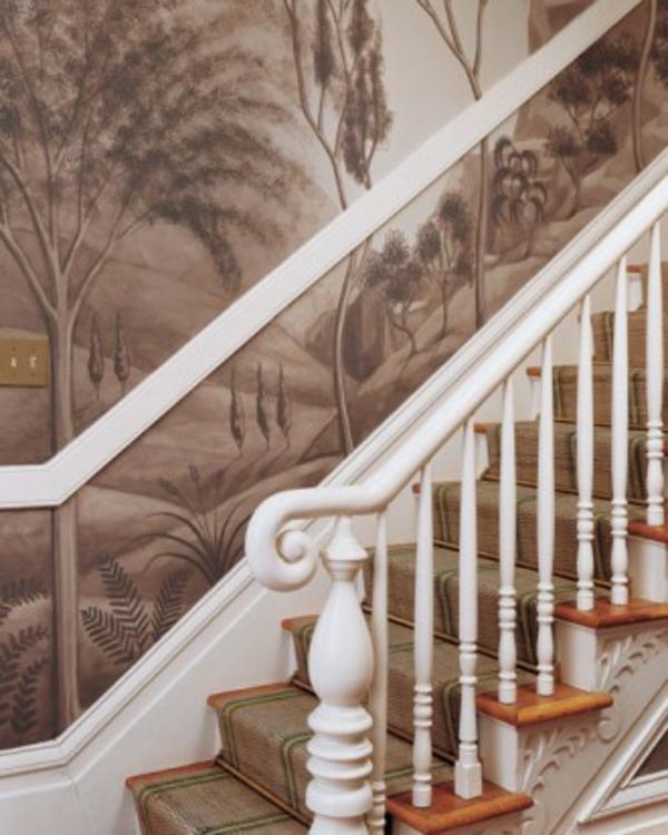 Tolle Wandgestaltung mit Farbe wandfarben ideen treppe