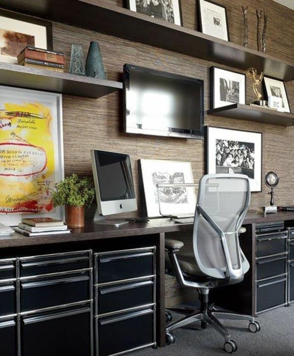 Tolle Wandregale wohnwand fernsehen Braun büro schreibtisch