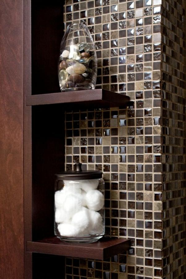 Tolle Wandregale mosaik fliesen bad Braun badezimmer