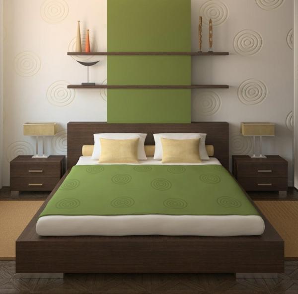 Tolle Wandregale nachttisch Braun schlafzimmer bett