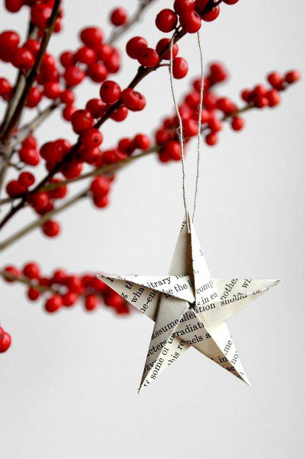 origami kunst Weihnachtssterne basteln vorlagen kinder papier hängend