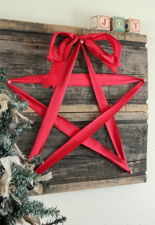 Weihnachtssterne selber basteln vorlagen kinder rot band