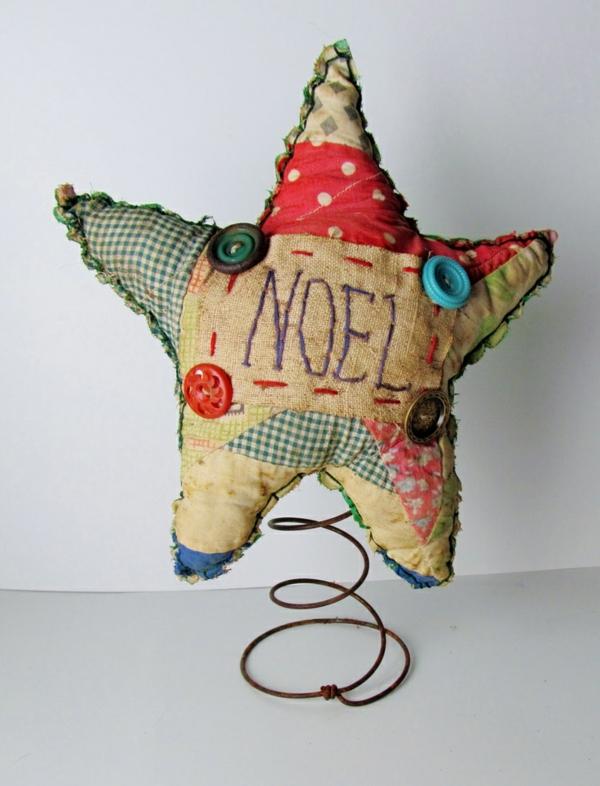 Weihnachtssterne patchwork basteln vorlagen kinder stoff knöpfe noel