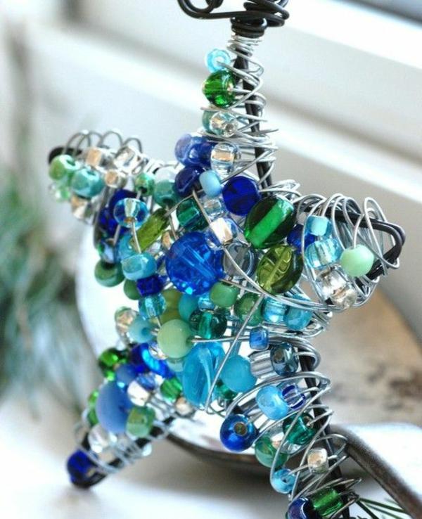 Weihnachtssterne grün selber basteln vorlagen kinder glas blau