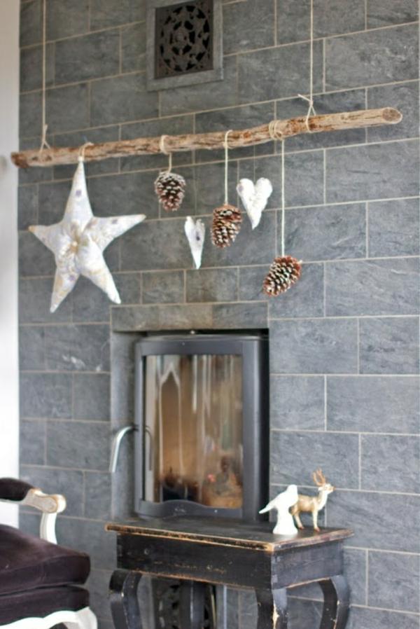Weihnachtssterne holz zweig selber basteln vorlagen kinder hängend
